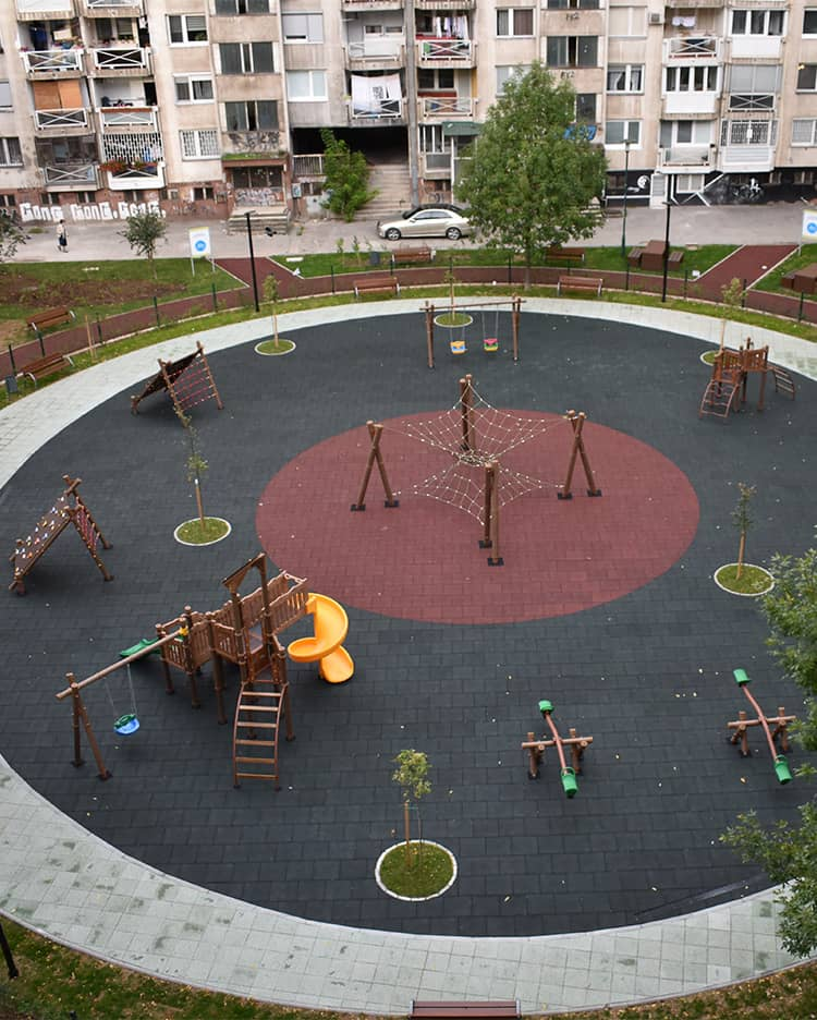 Construction of kids playgound in Envera Sehovica Street